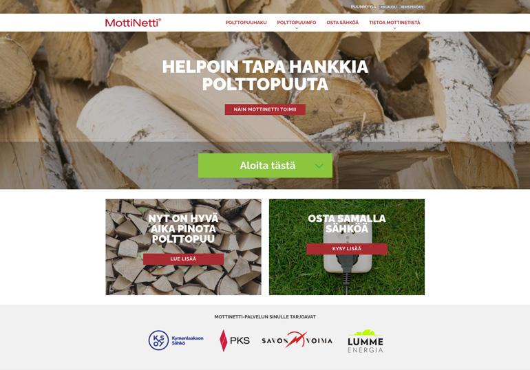 MottiNetti.fi -etusivun näkymä