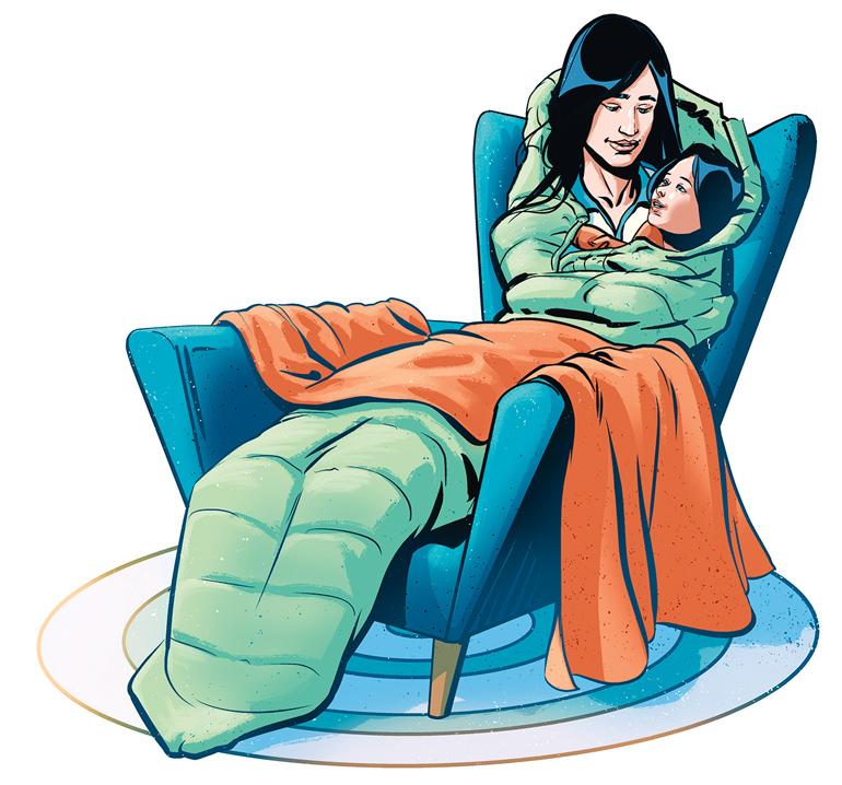 piirroskuvassa äiti ja lapsi lämpimän peiton alla tuolissa
