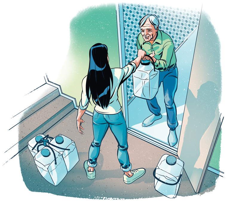 piirroskuvassa nainen vie naapurille juomavettä kanisterissa